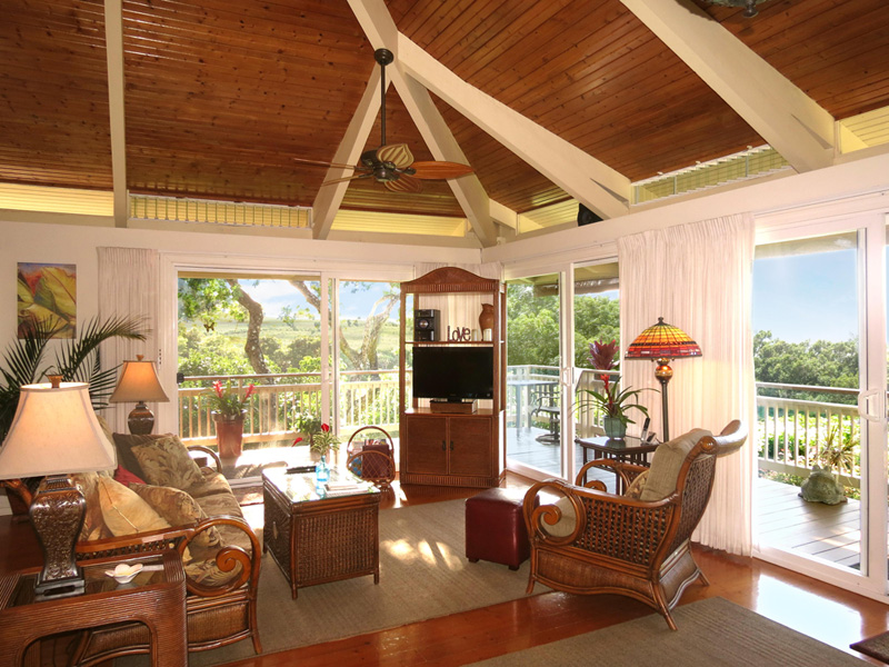 Sit Back, Relax And Unwind After Your Maui Activities And Adventures In Your  Comfortable Rattan Furnishings, High Open Beam Ceiling With A Light, Open,  ...